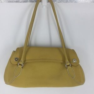 COLE HAAN pebbled leather marigold purse bag
